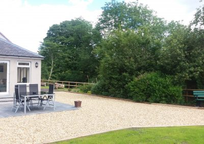 Garden area of Riverside Holiday cottage for Southern Scotland self catering